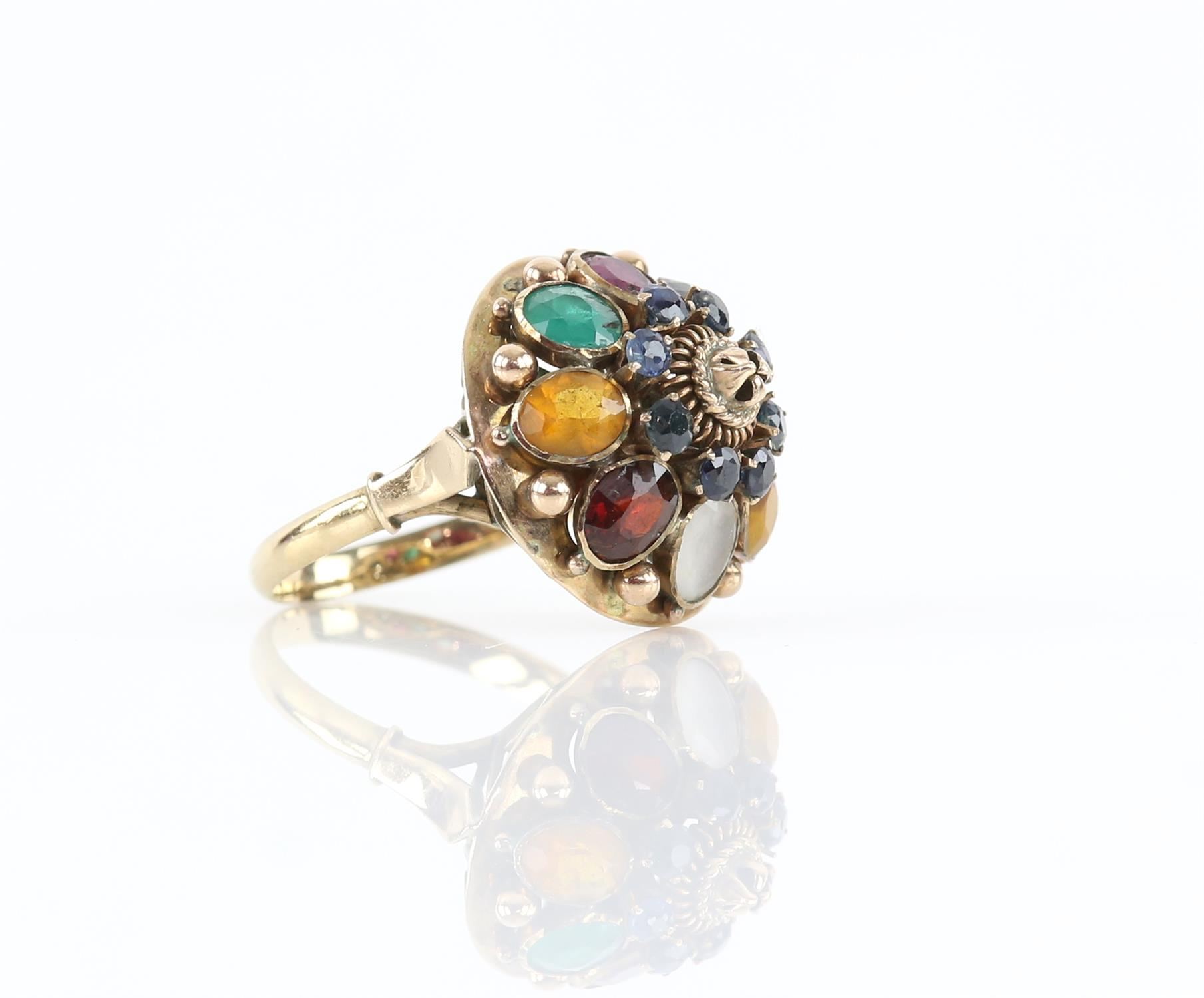 Gemstone set princess ring, set with round and oval cut sapphires, rubies, emeralds, tigers eye, - Image 2 of 3