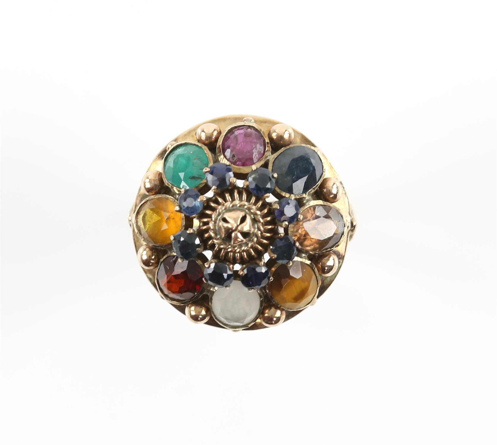 Gemstone set princess ring, set with round and oval cut sapphires, rubies, emeralds, tigers eye,