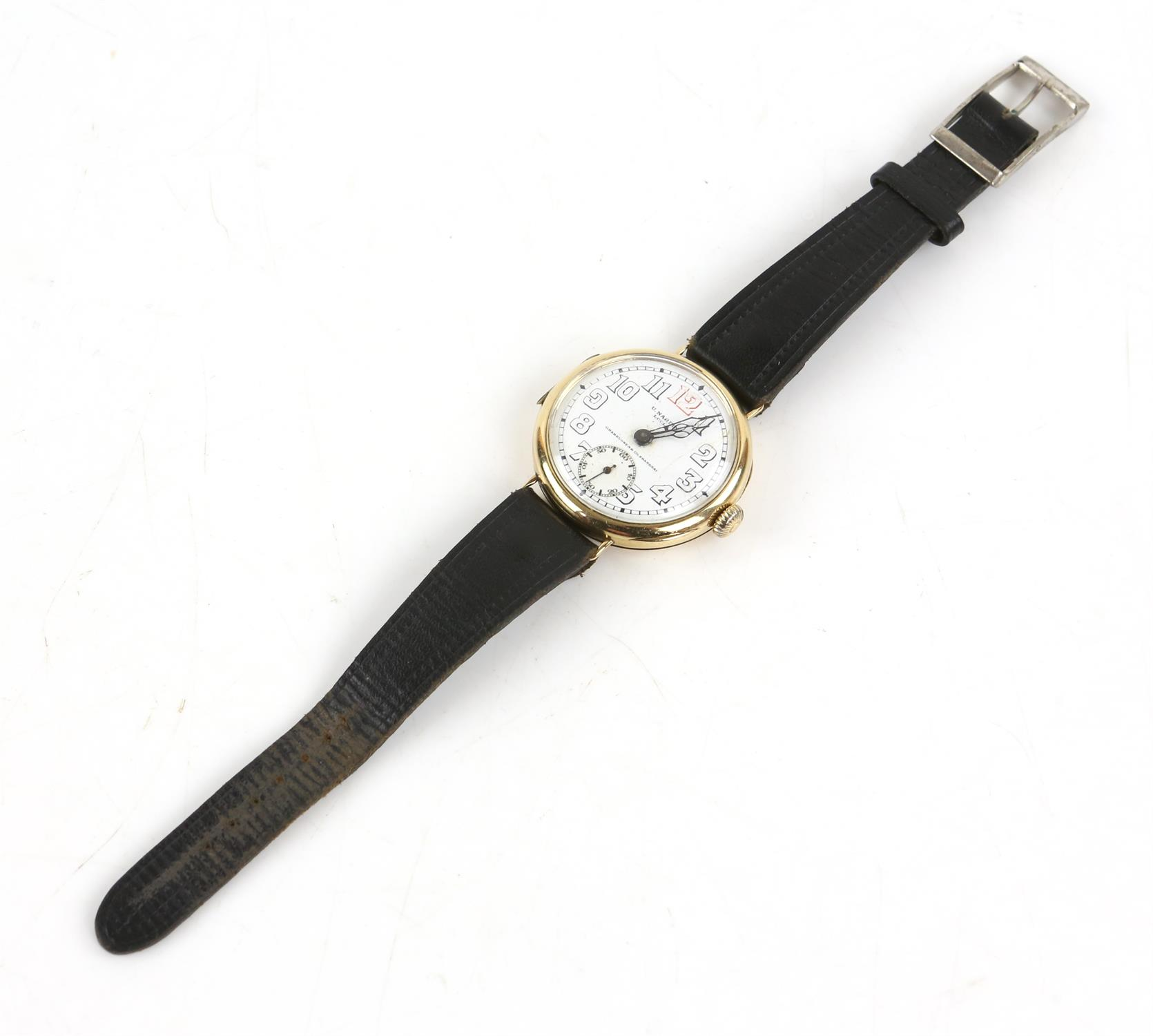 Ulysee Nardin, a Gentleman's gold wristwatch in circular case, the signed white enamel dial with - Image 5 of 10