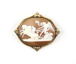 19th C shell Cameo, depicting the peace halting horses of Mars, mounted testing as 15 ct,