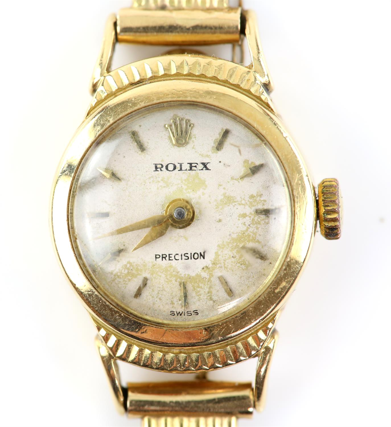 Rolex, a ladies reference 9285 Precision wristwatch in gold case, signed dial with gold dagger