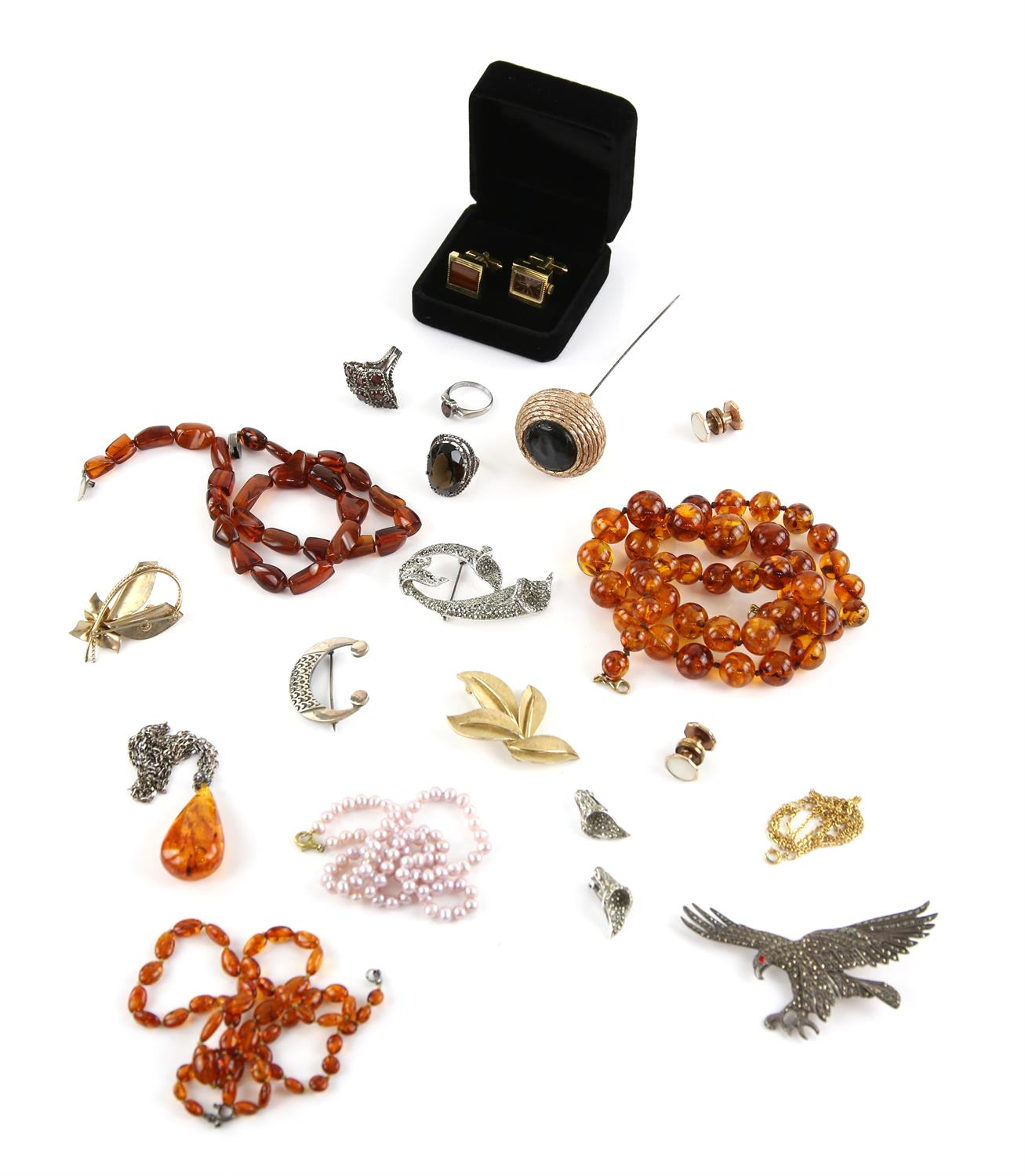 Bag of costume jewellery to include large hat pin, cufflink set incorporating watch,