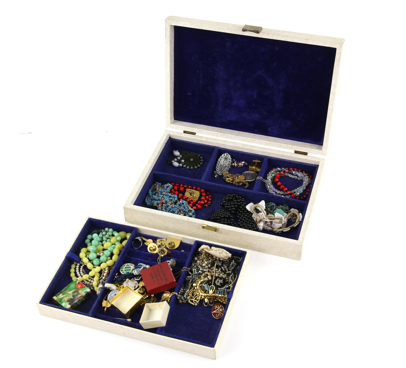 A jewellery box containing costume jewellery, including blue enamel butterfly in silver 3.7 x 2. - Image 2 of 2