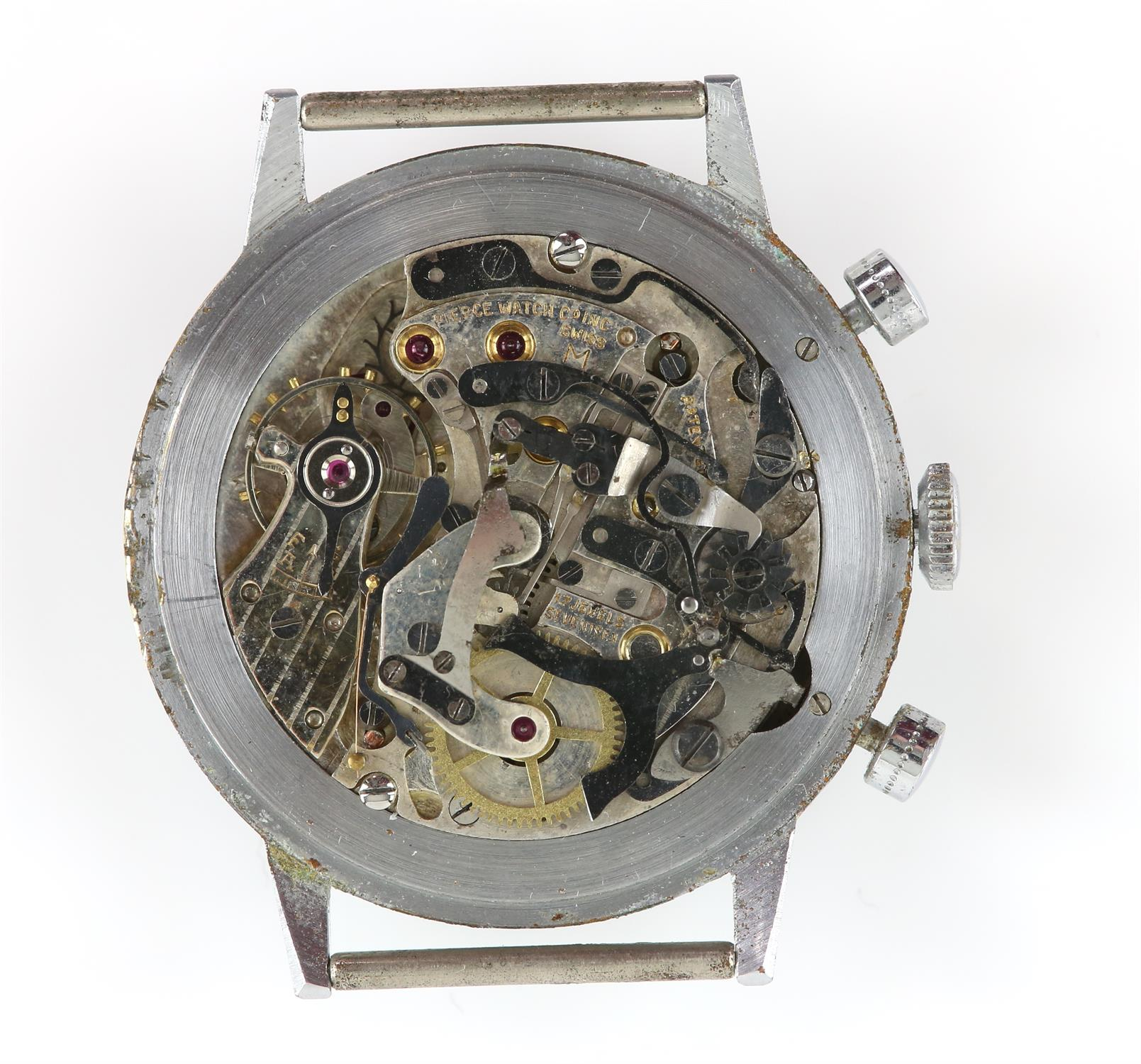 Pierce A Gentleman's stainless steel up down chronograph wrist watch, the dial signed Pierce Fab - Image 2 of 2