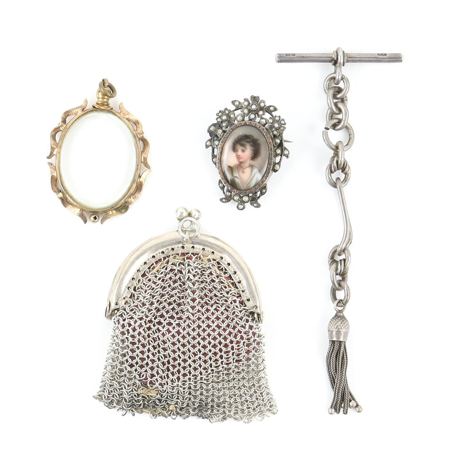 Silver and costume jewellery, including a Scottish agate dirk brooch, an enamel painted portrait