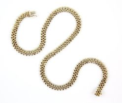 Gold three row circular flat link necklace, in 9 ct yellow gold, stamped Italy, bearing Birmingham