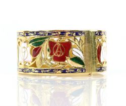 Enamel red and white rose gold pierced bangle, with enamel leaves and scrolled blue enamel borders,
