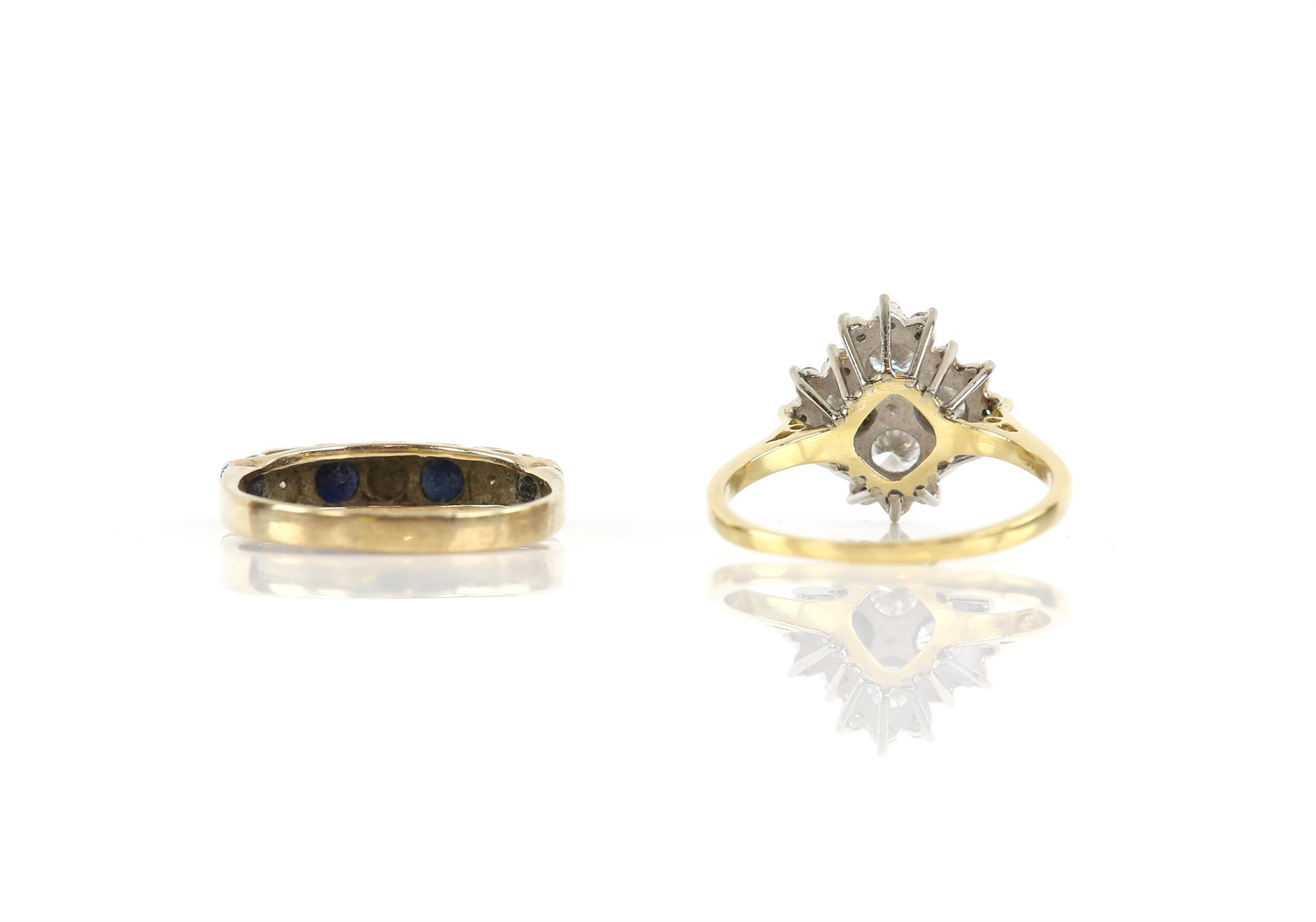Two gem set rings, including a diamond cluster ring, weighing an estimated total of 1.00 carat, - Image 2 of 2