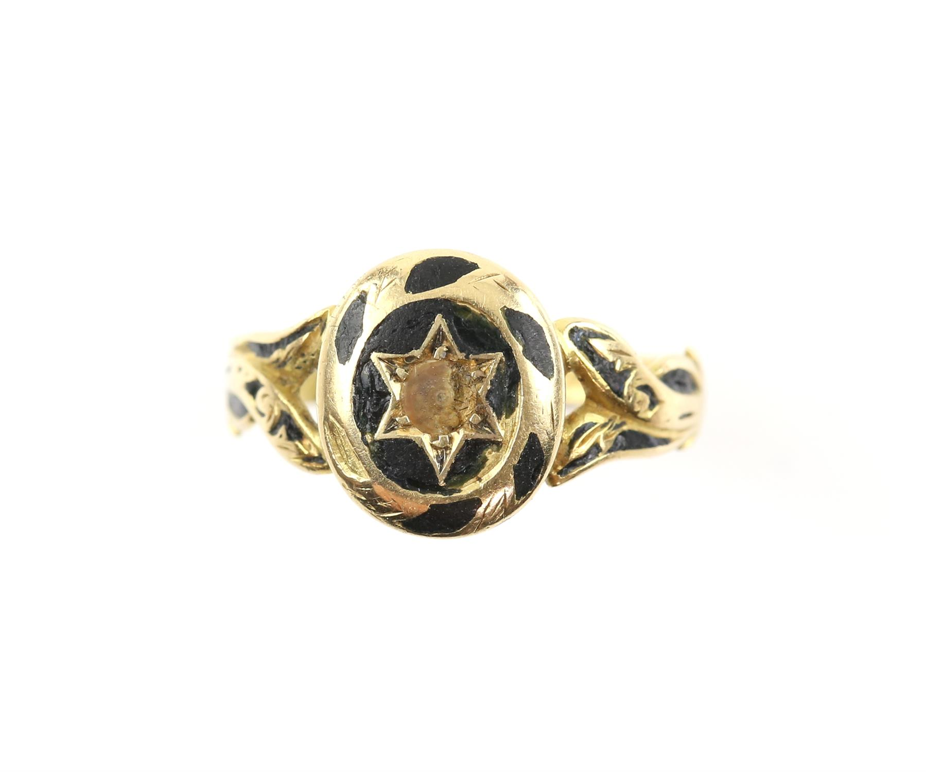 Antique gold and enamel mourning ring, inside band engraved 'Joseph Callaway died Feb 4.1873.