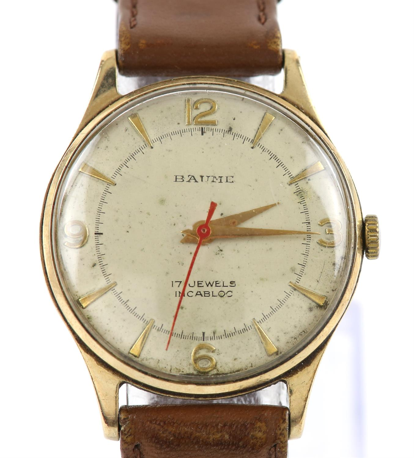 Baume gentleman's gold wristwatch, signed dial with baton and Arabic numeral hour markers
