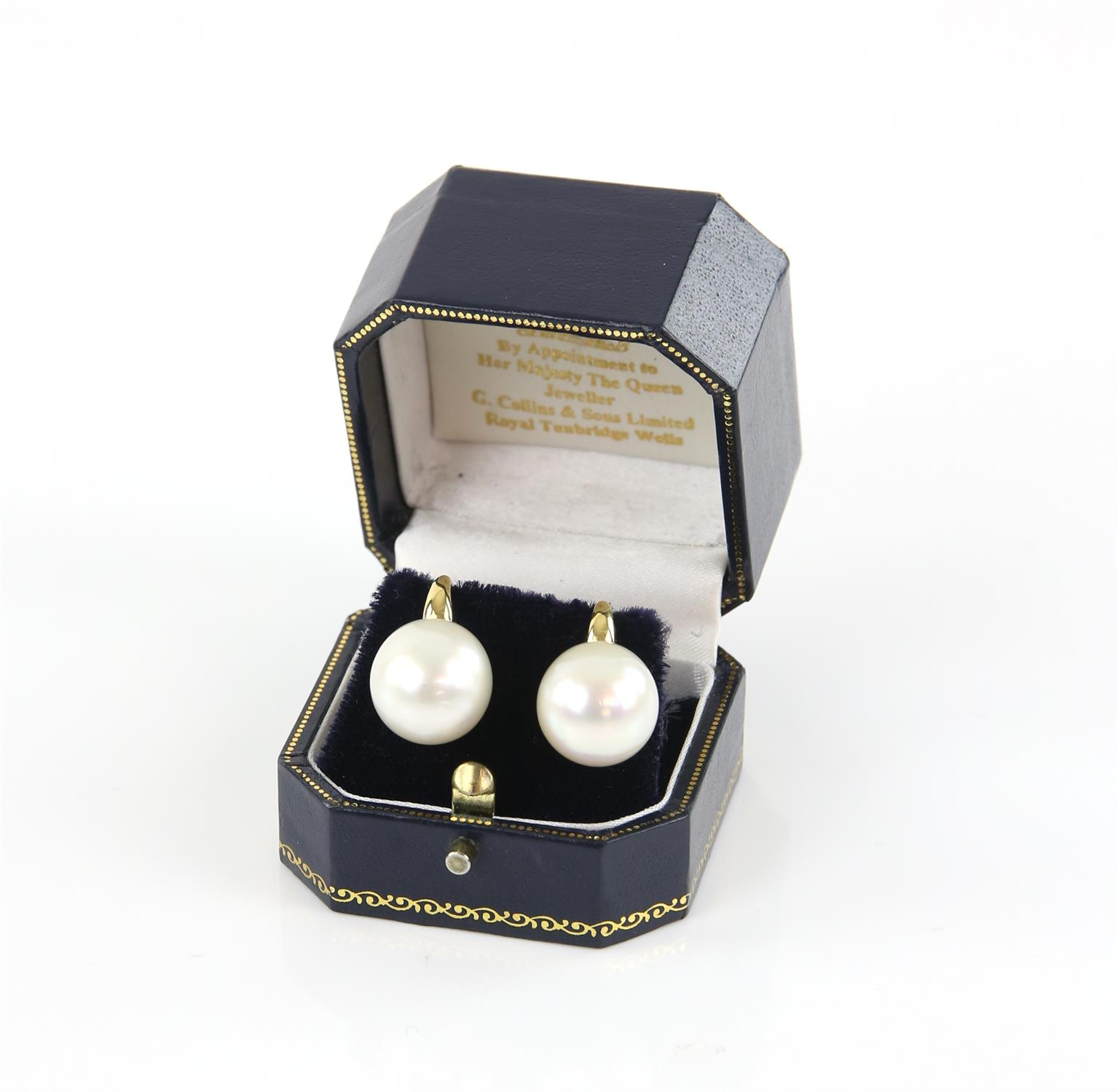 A pair of South Sea pearl earrings, pearls measuring 14mm in diameter, with hook fitting, - Image 2 of 2