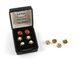 Five pairs of stud earrings, one set with oval cabochon cut coral, 10 x 6mm, in wire work setting,