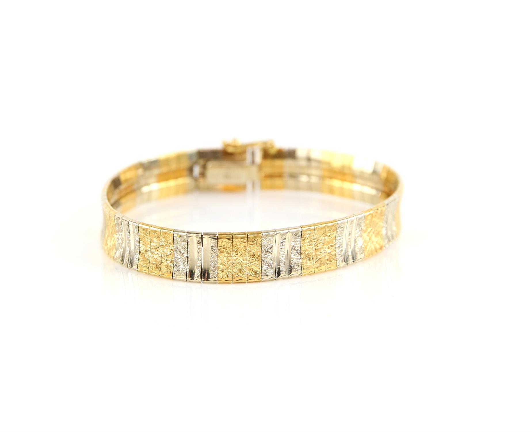 Bi-colour gold fancy link bracelet, with engraved and polished concave gold links,