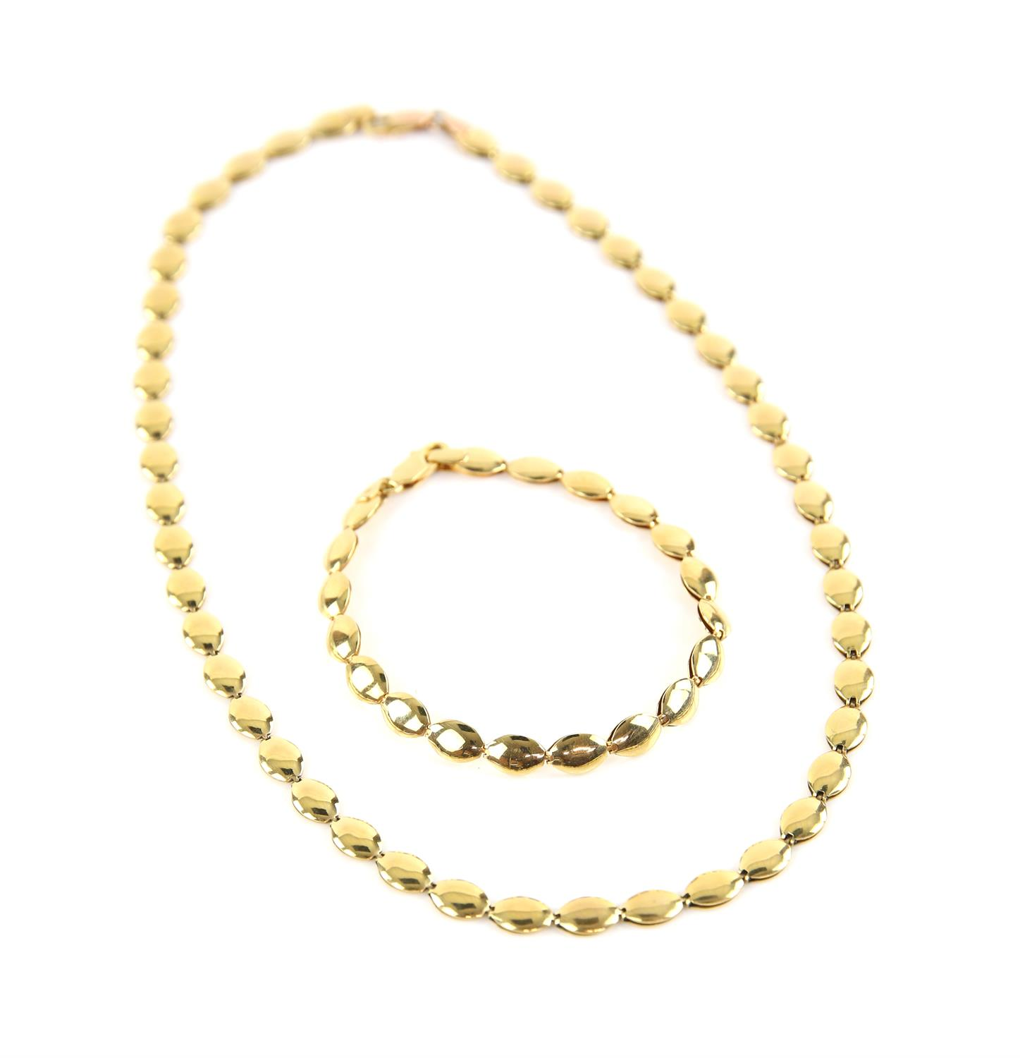 Necklace and bracelet set, designed as oval gold articulated links, on a lobster clasp,
