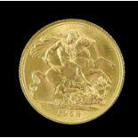 Elizabeth II gold sovereign 1958