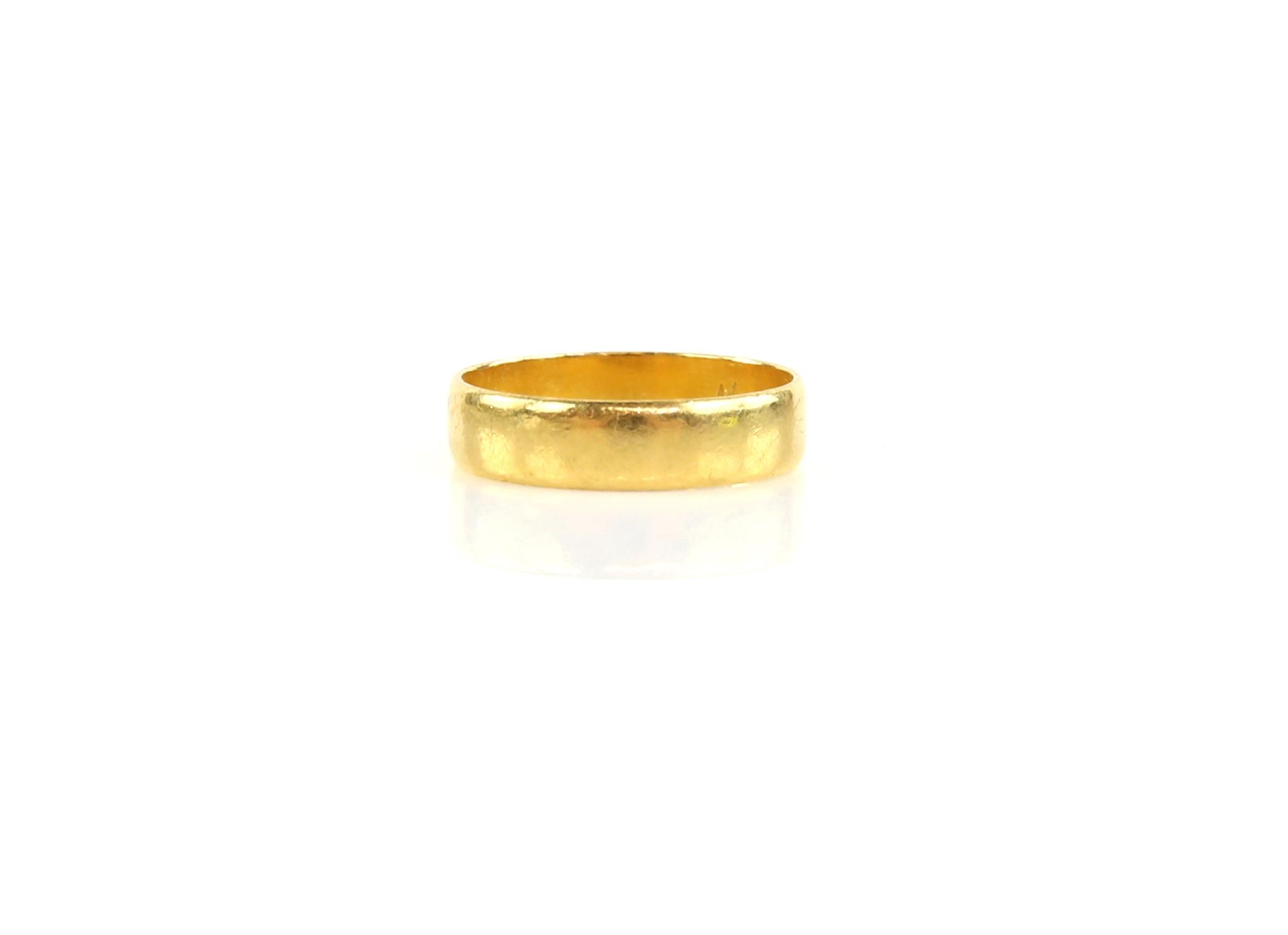 1960's court wedding band in 22 ct yellow gold, hallmarked London 1963, ring size N and a delicate - Image 2 of 3
