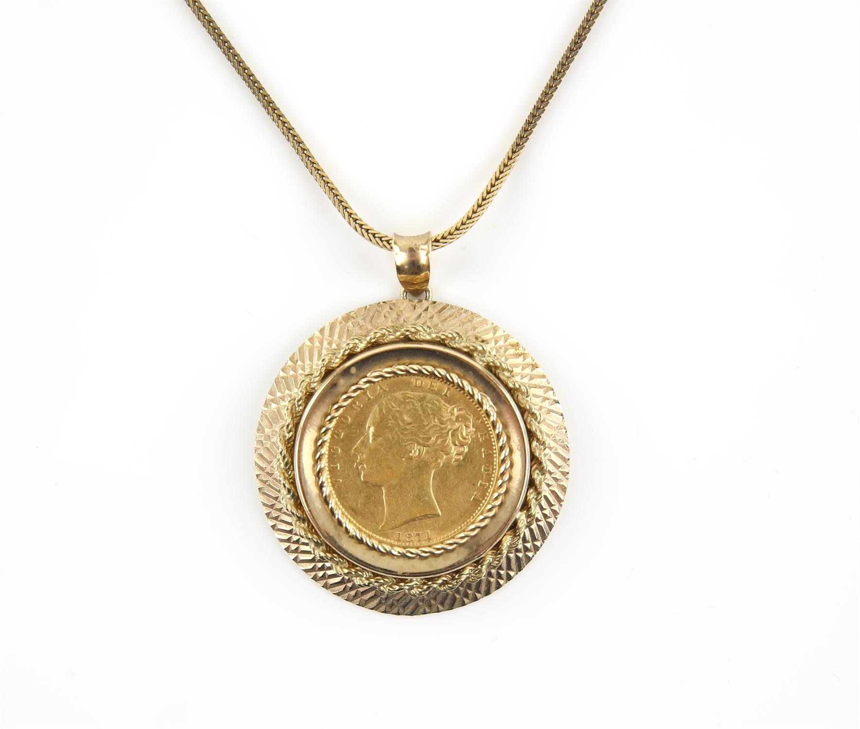 Pendant coin mount, in 9 ct set with a Victorian 1871 shield back sovereign, on a fancy link chain,