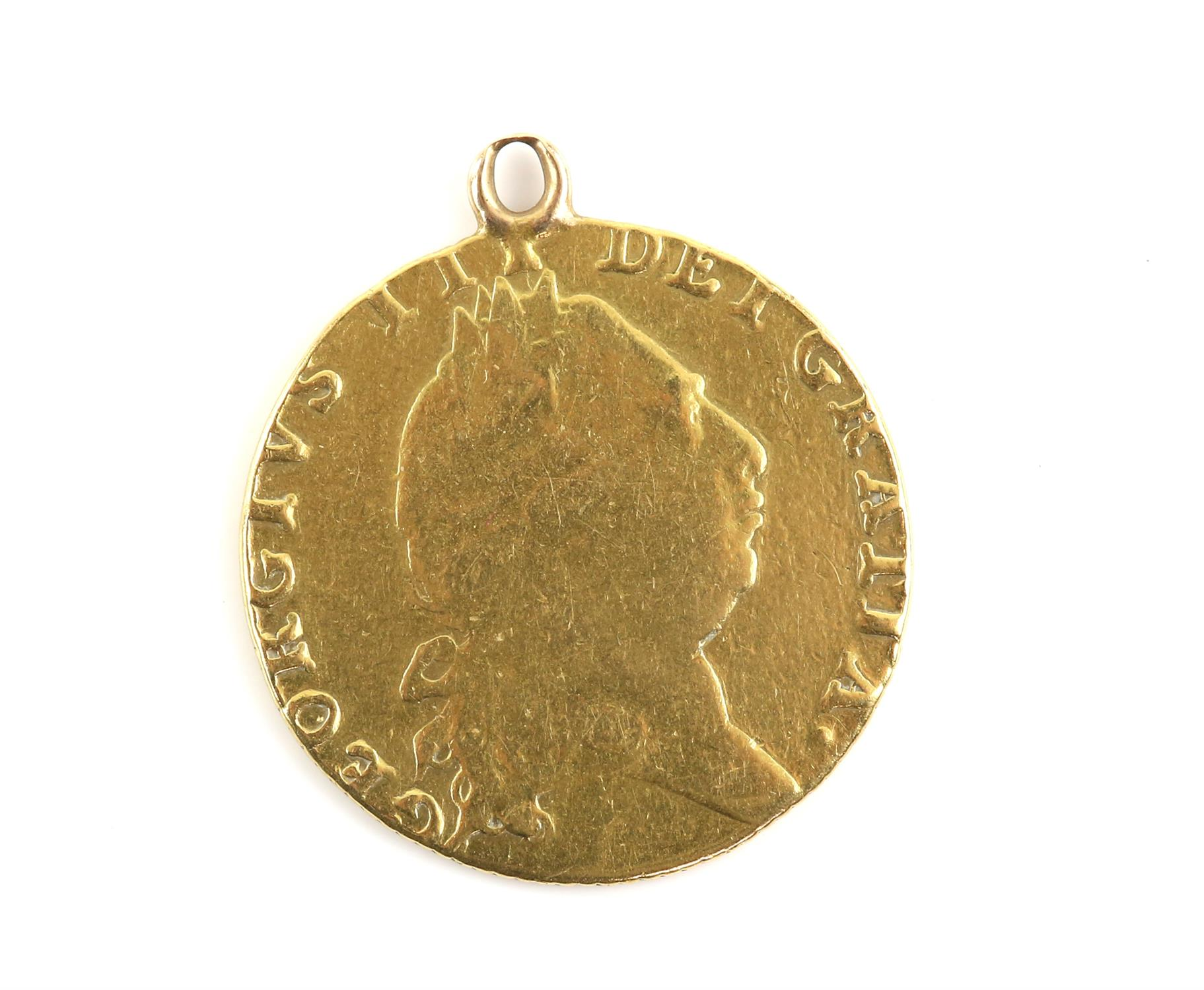 Gold coin pendant, a George III, 1793 Guinea gold coin, featuring the 5th laureate head George III - Image 2 of 2