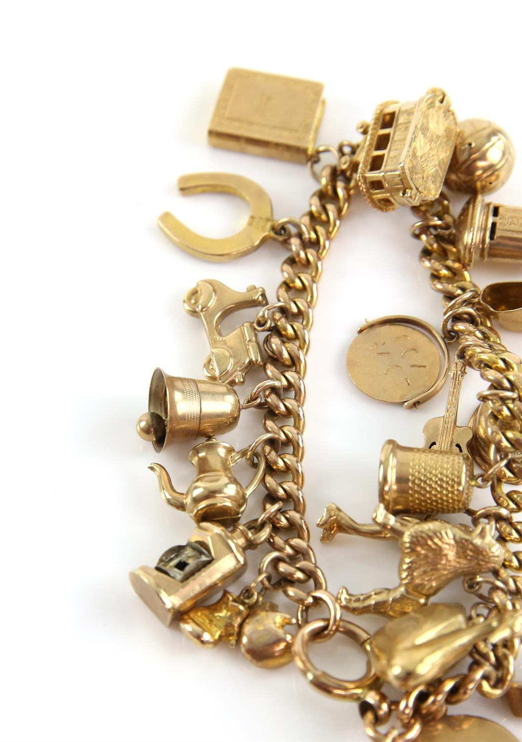 Gold curb link bracelet, large bolt ring clasp, with twenty-one vintage charms attached, - Image 3 of 3