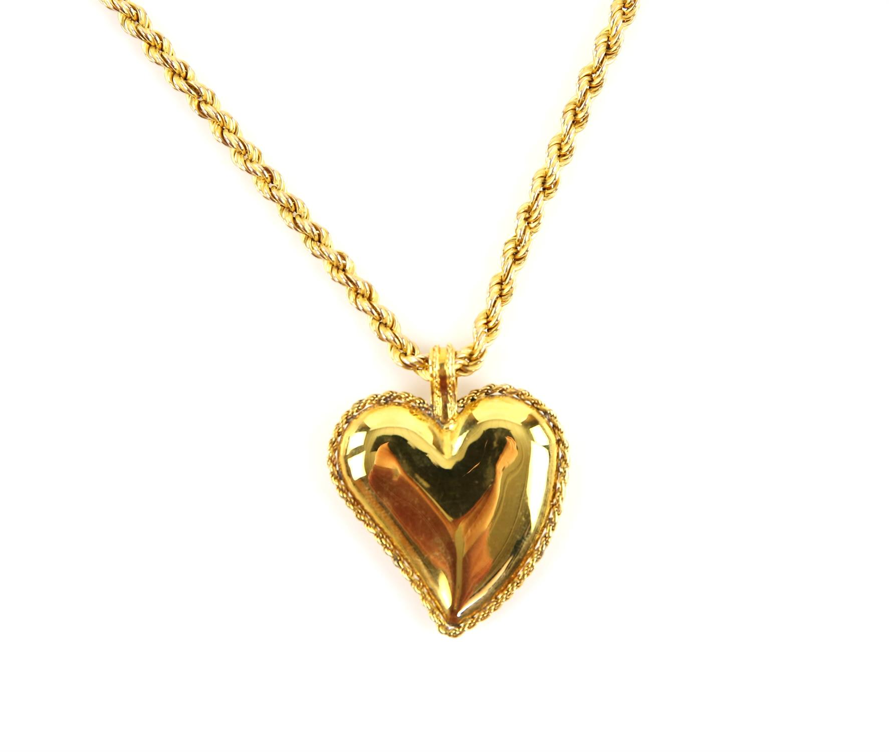 Gold heart pendant, designed as a puffed witches heart, in 14 ct, on a rope chain, hallmarked 9 ct,