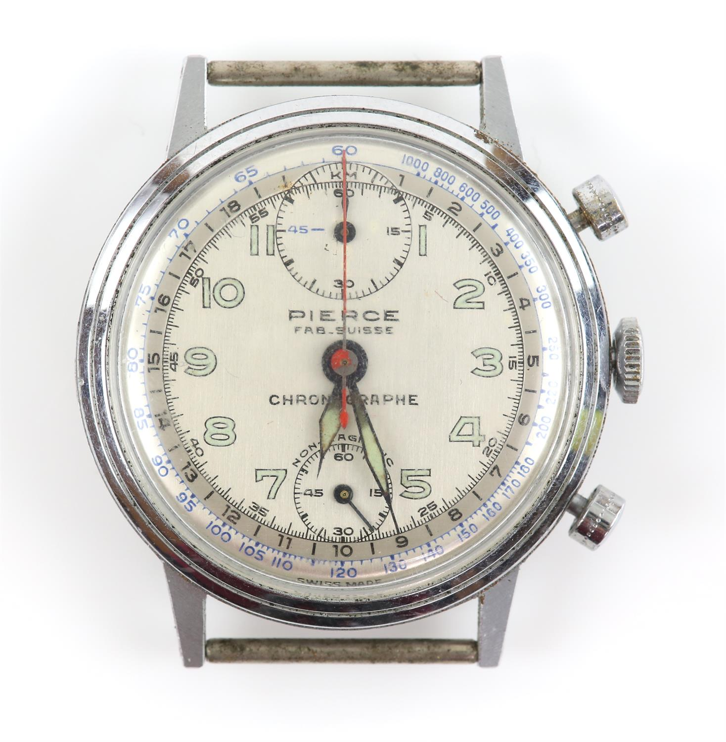 Pierce A Gentleman's stainless steel up down chronograph wrist watch, the dial signed Pierce Fab