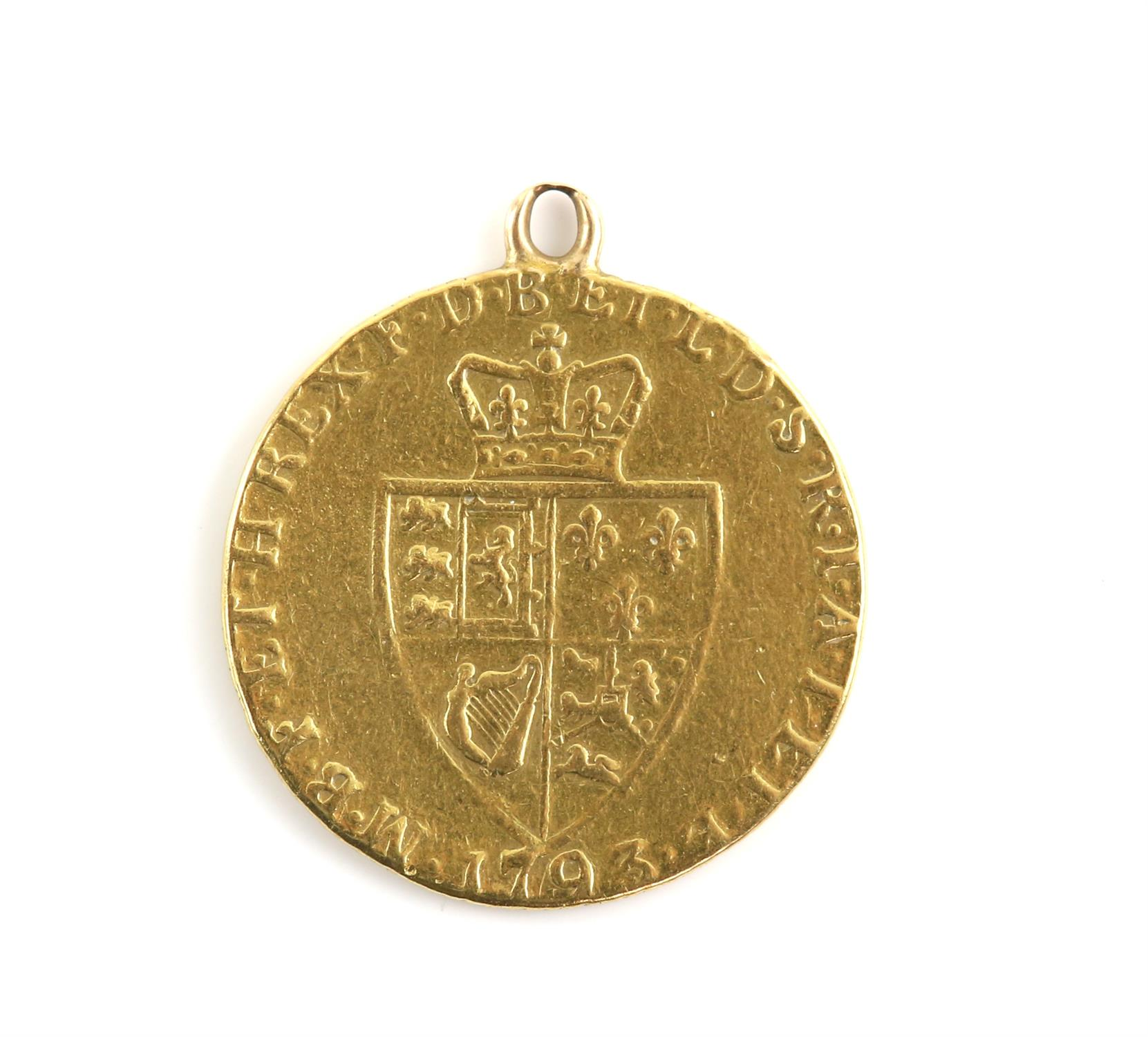 Gold coin pendant, a George III, 1793 Guinea gold coin, featuring the 5th laureate head George III
