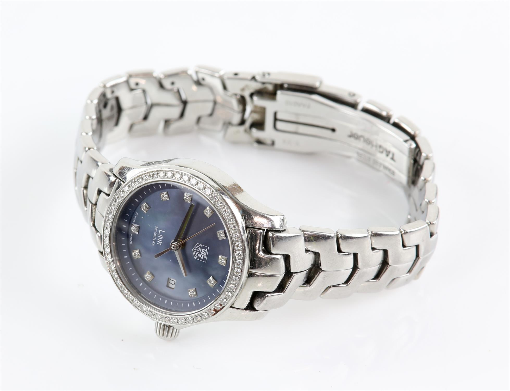 Tag Heuer A Ladies stainless steel Link Reference WJF131G wristwatch, the signed dial set with - Image 2 of 3