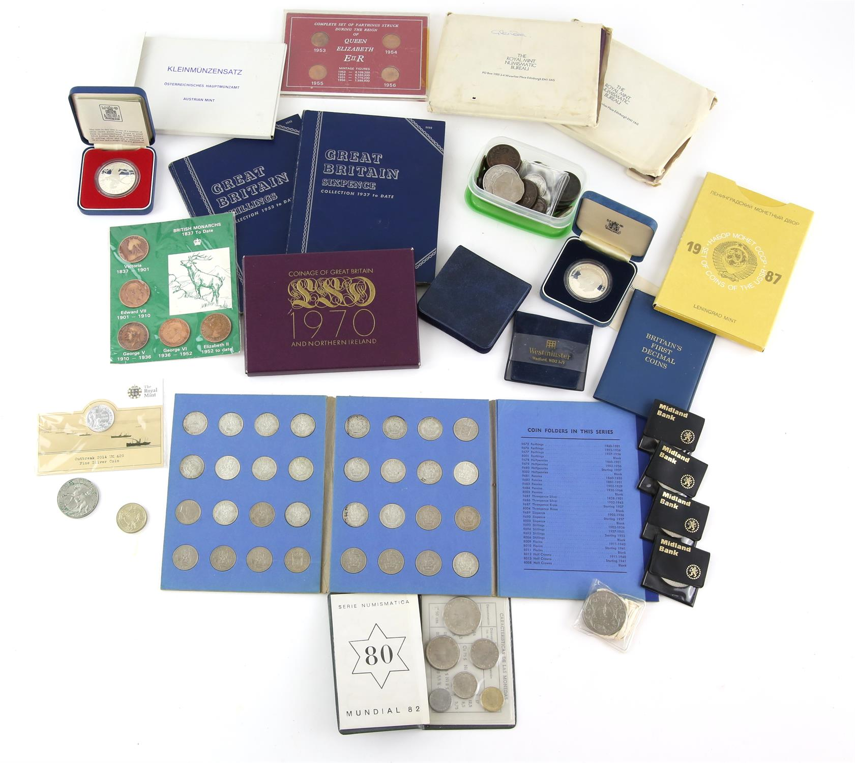 Mixed collection of mostly British coins but including annual sets from Spain 1980,
