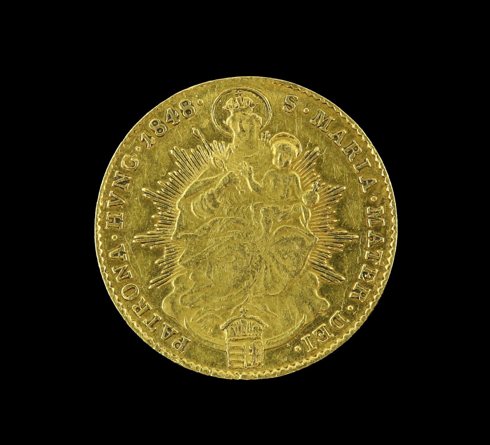 Hungary, Ferdinand V, gold Ducat 1848, Emperor standing, rev. Madonna and child