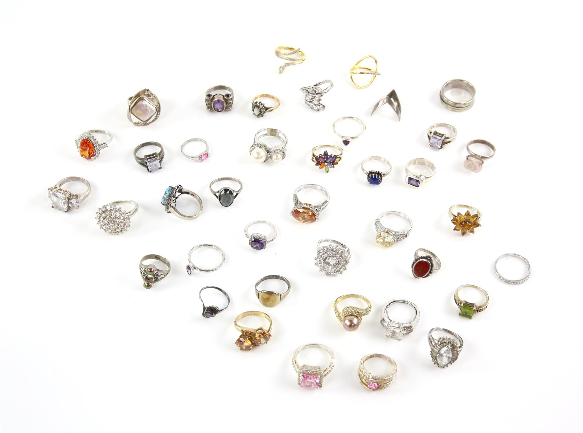 Selection of rings, forty in total, one signet ring size Q, pink princess cut paste ring, size U,