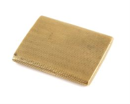 1920's gold cigarette case, engine turned detail, concealed button, in 9 ct yellow gold hallmarked