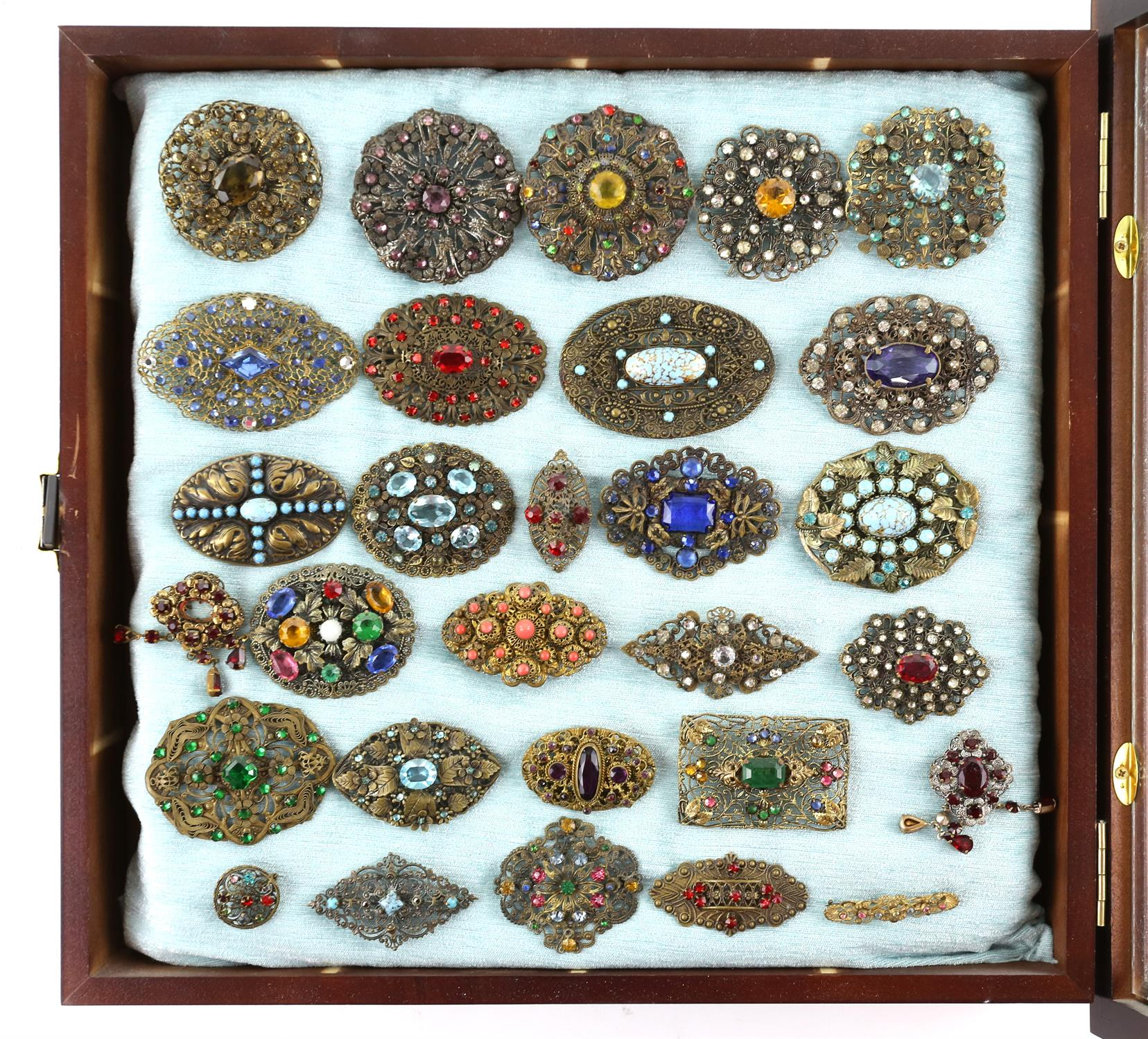 Three frames of brooches, largest frame measuring approximately 82 x 36.5cm, filled with colourful - Image 4 of 4