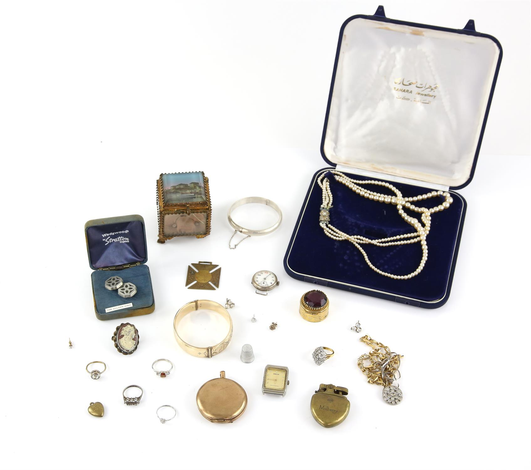 Bag of costume jewellery including boxed three strand pearl necklace, glass trinket box,
