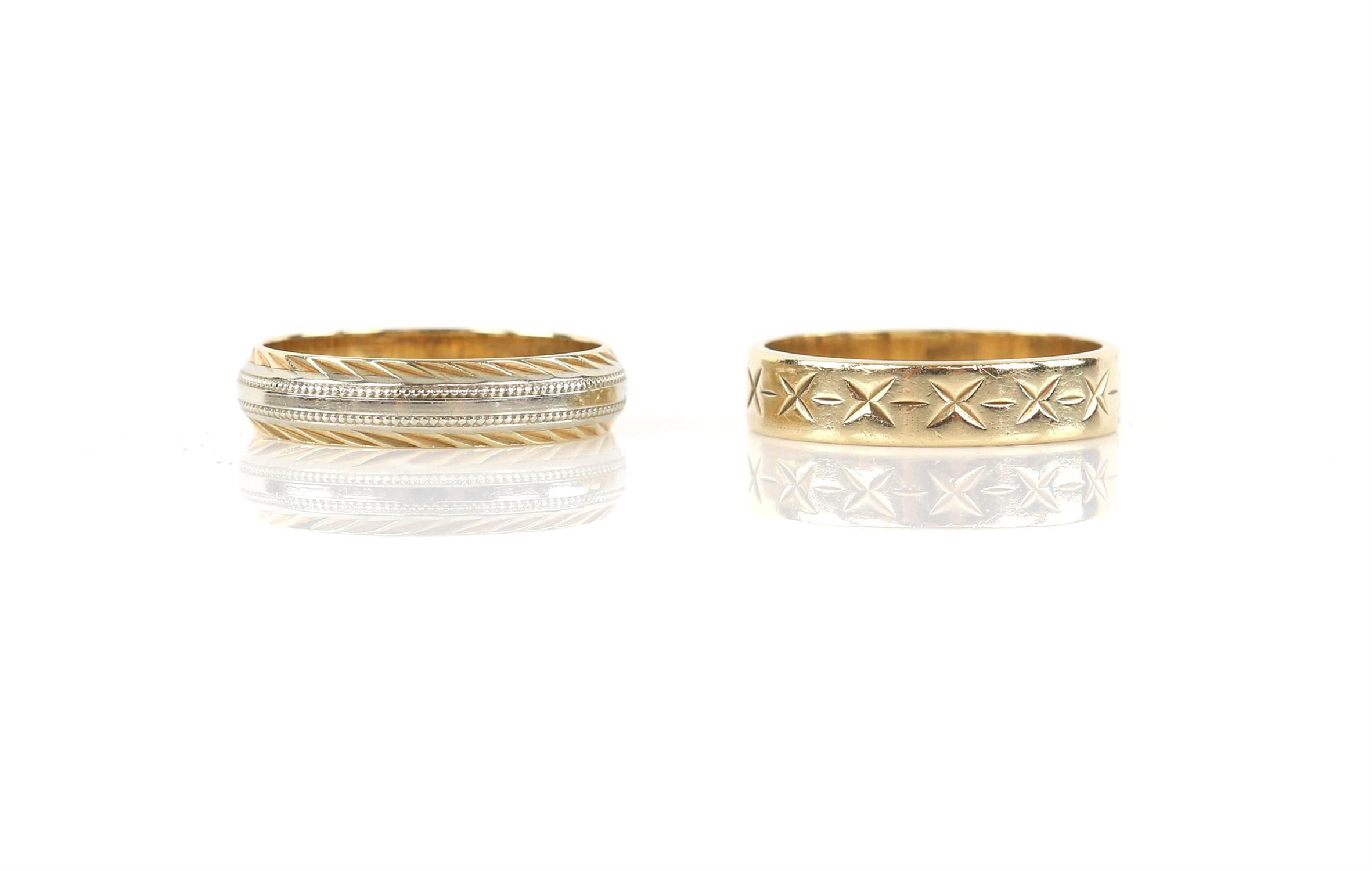 Two gold bands, one 1980's wedding band, with engraved cross detail, and another bi-coloured gold