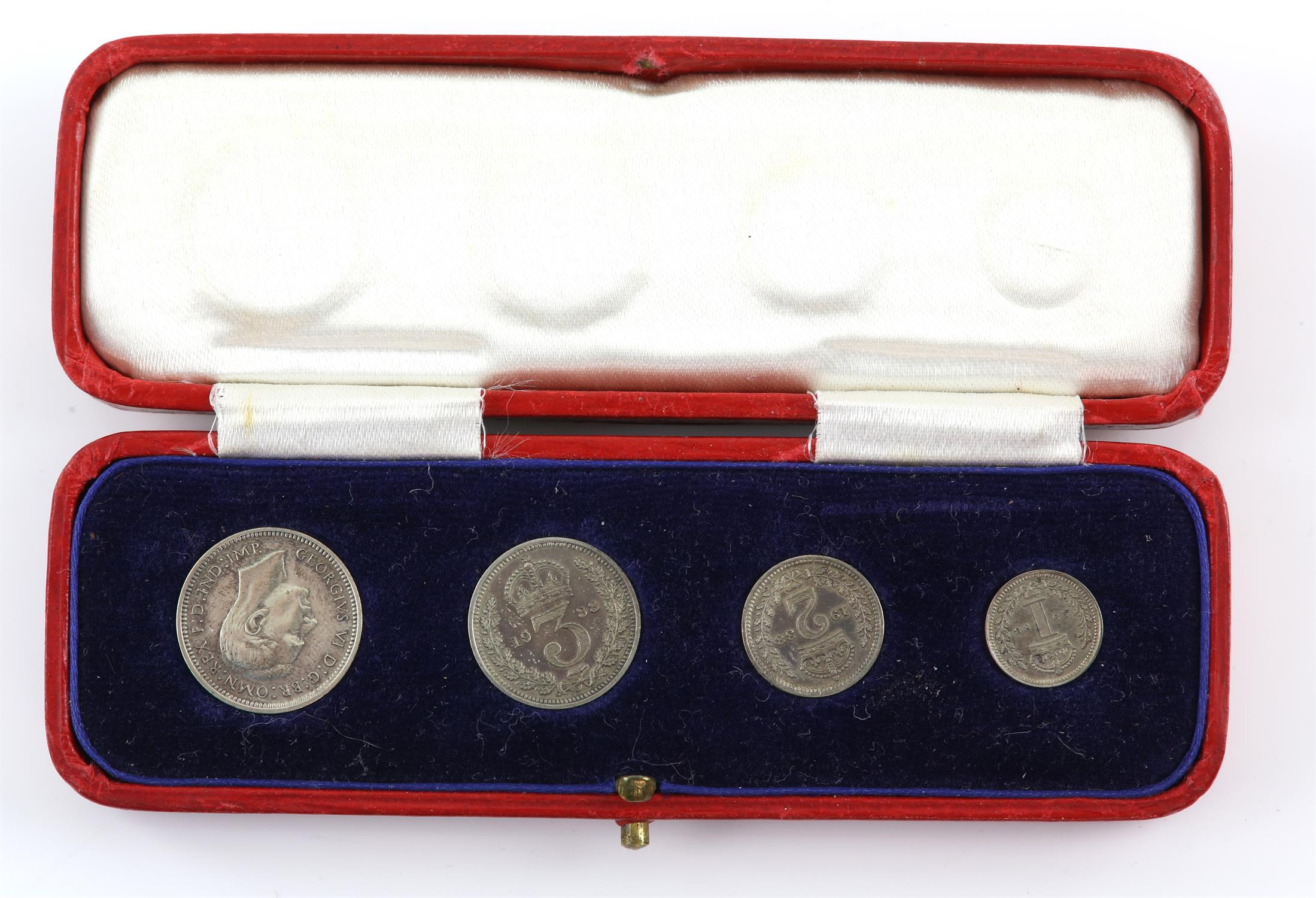 George VI 1938 Maundy Money set, comprising fourpence, threepence, twopence and penny,