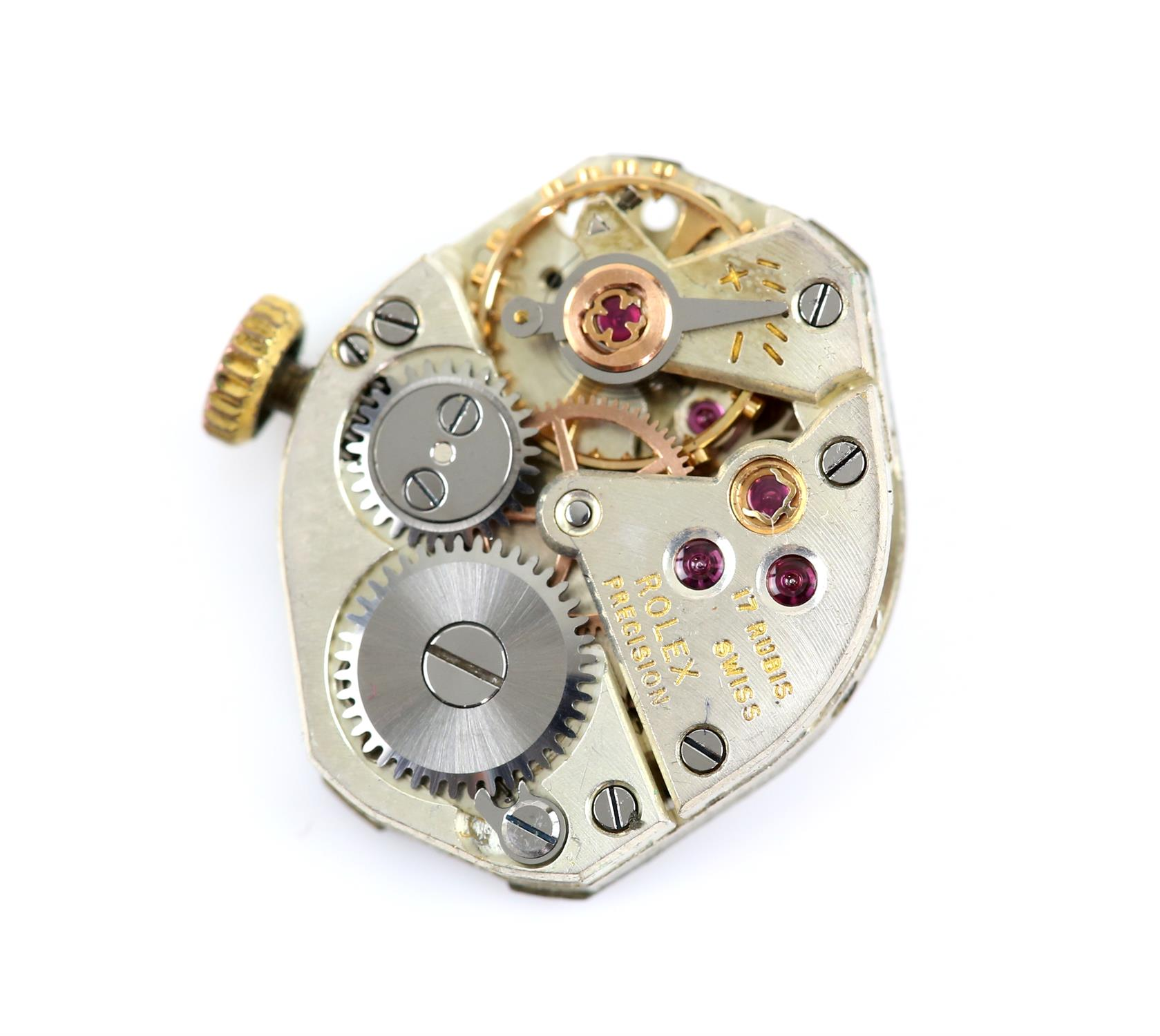 Rolex, a ladies reference 9285 Precision wristwatch in gold case, signed dial with gold dagger - Image 3 of 3