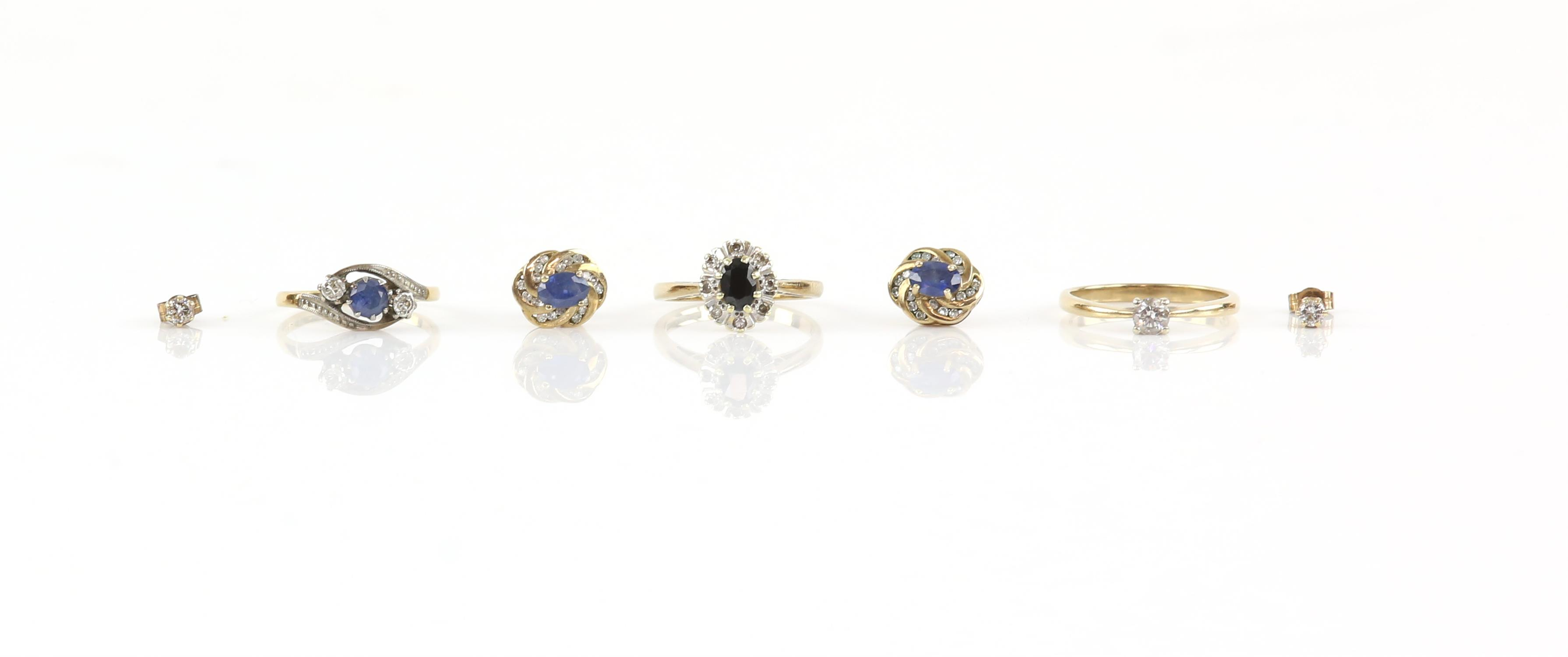 Group of jewellery, including a single stone diamond ring, weighing an estimated 0.25 carat,