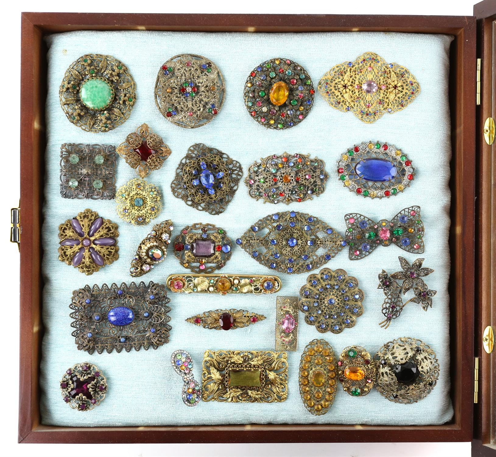 Three frames of brooches, largest frame measuring approximately 82 x 36.5cm, filled with colourful - Image 2 of 4