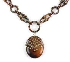 Tortoise shell pique work locket and chain necklace, oval locket 4.5 x 3.3cm, connected to link
