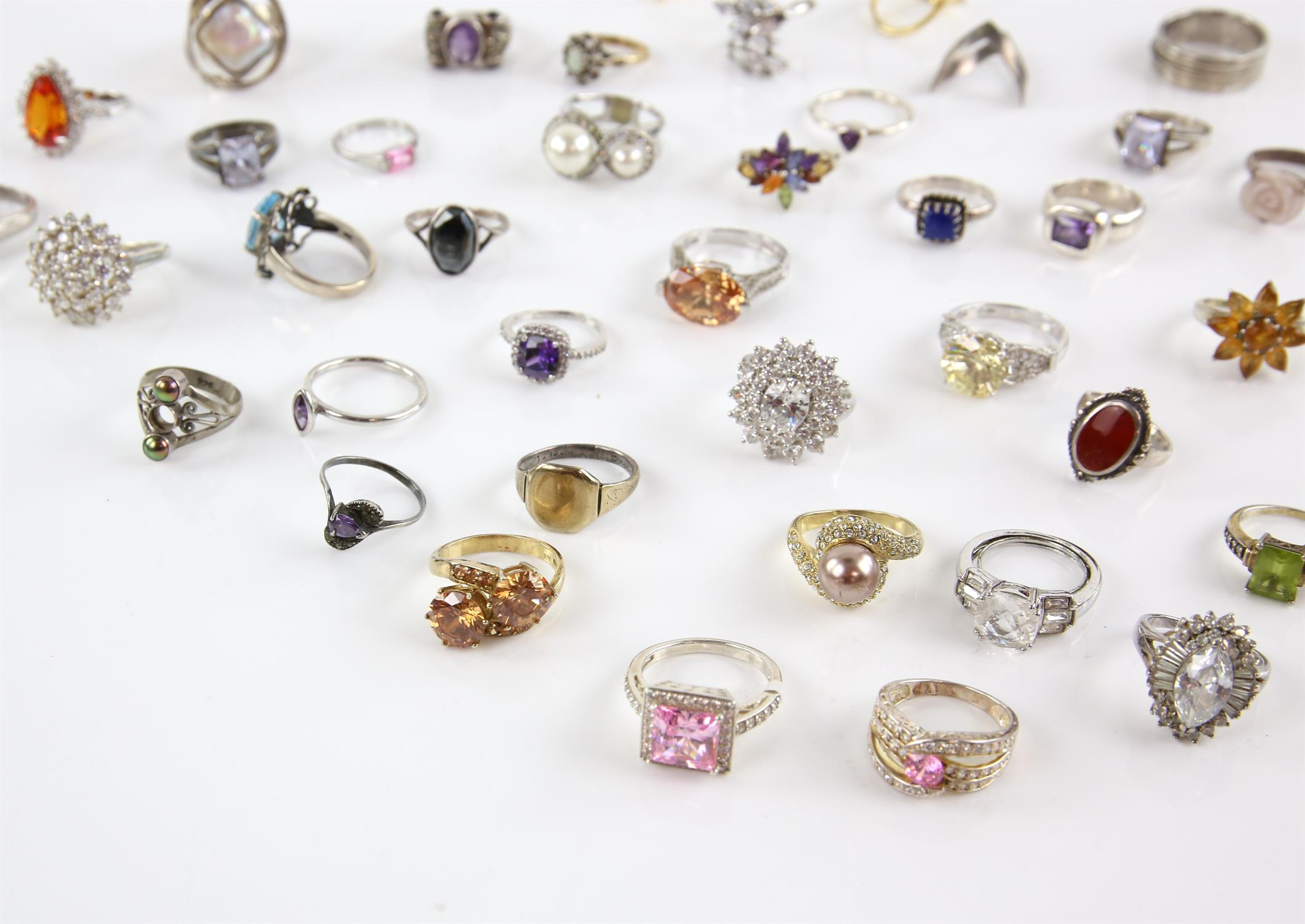 Selection of rings, forty in total, one signet ring size Q, pink princess cut paste ring, size U, - Image 3 of 3