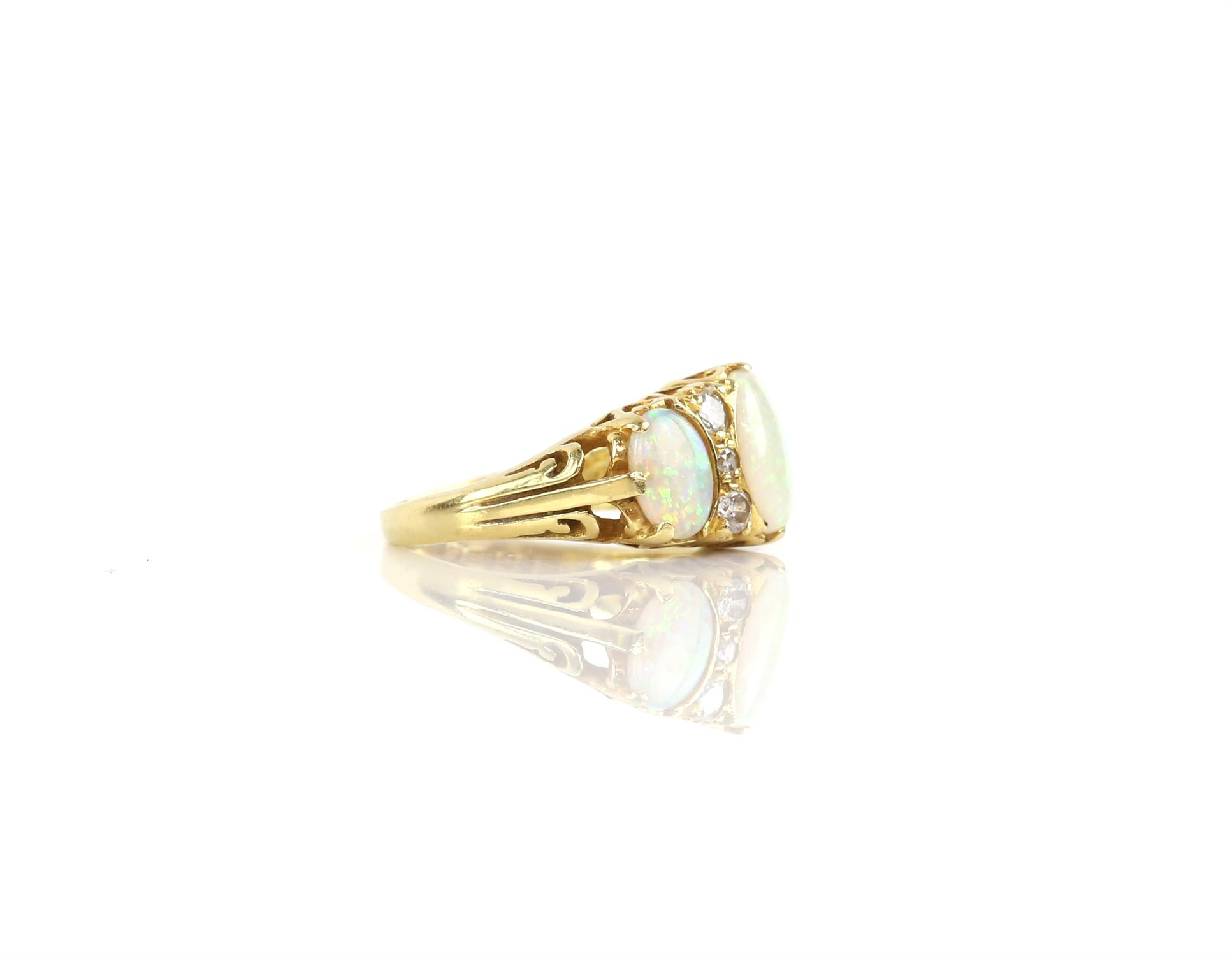 Vintage opal and diamond ring, the centre opal is a synthetic, the side stones are natural, - Image 2 of 3