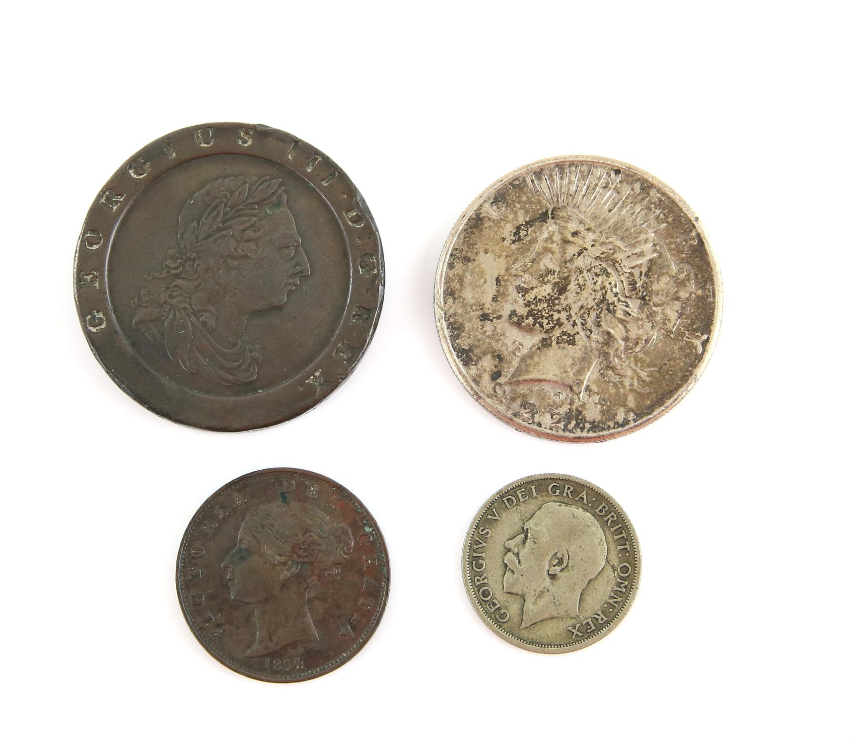 Four coins including a British cartwheel twopence 1797, a Victoria halfpenny 1854 near very fine,