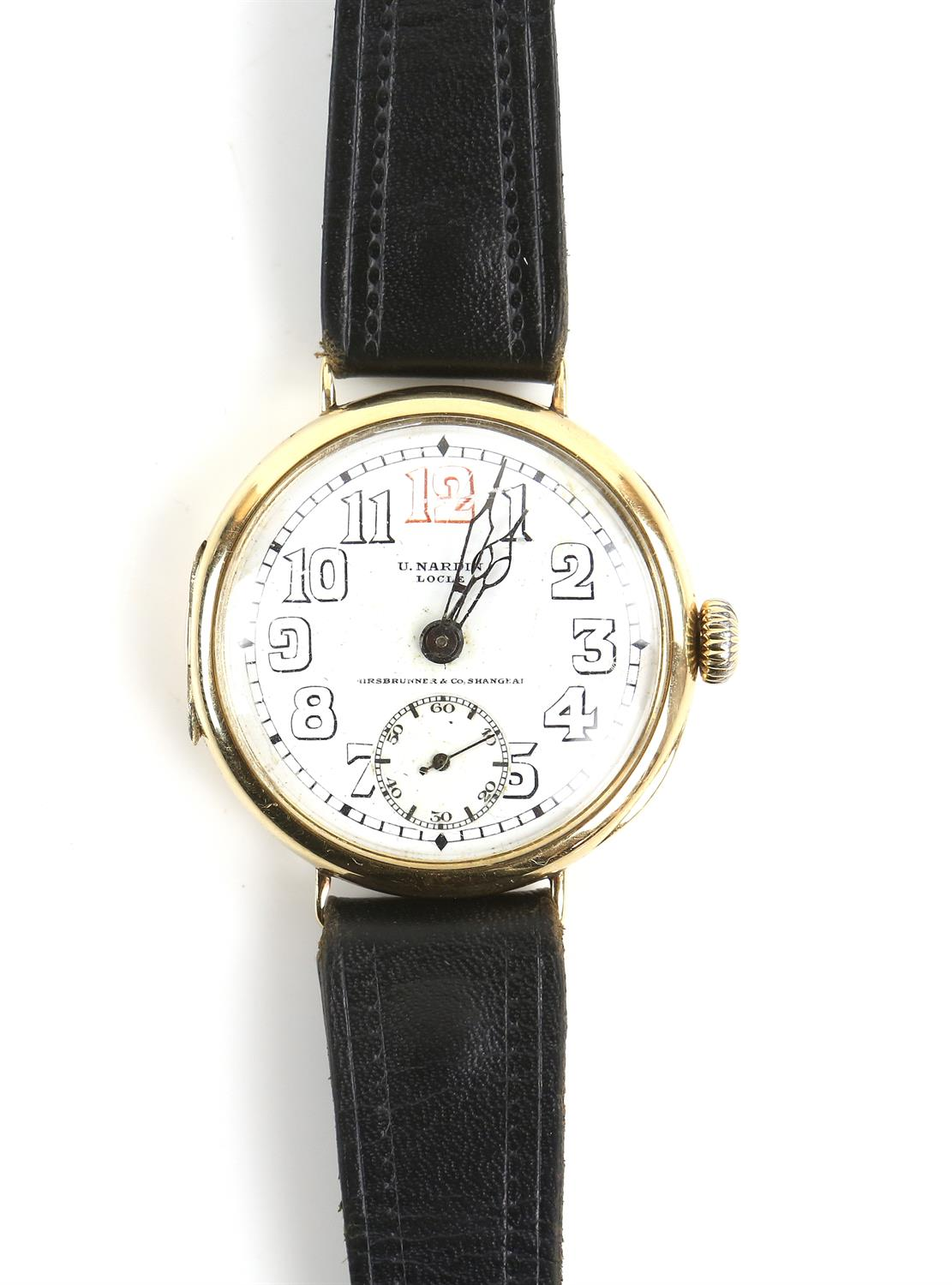 Ulysee Nardin, a Gentleman's gold wristwatch in circular case, the signed white enamel dial with