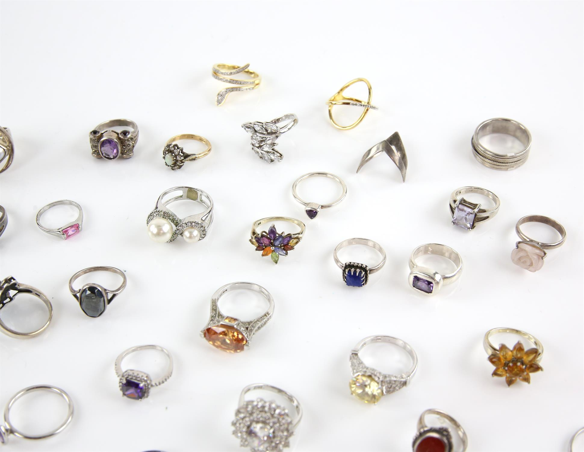 Selection of rings, forty in total, one signet ring size Q, pink princess cut paste ring, size U, - Image 2 of 3