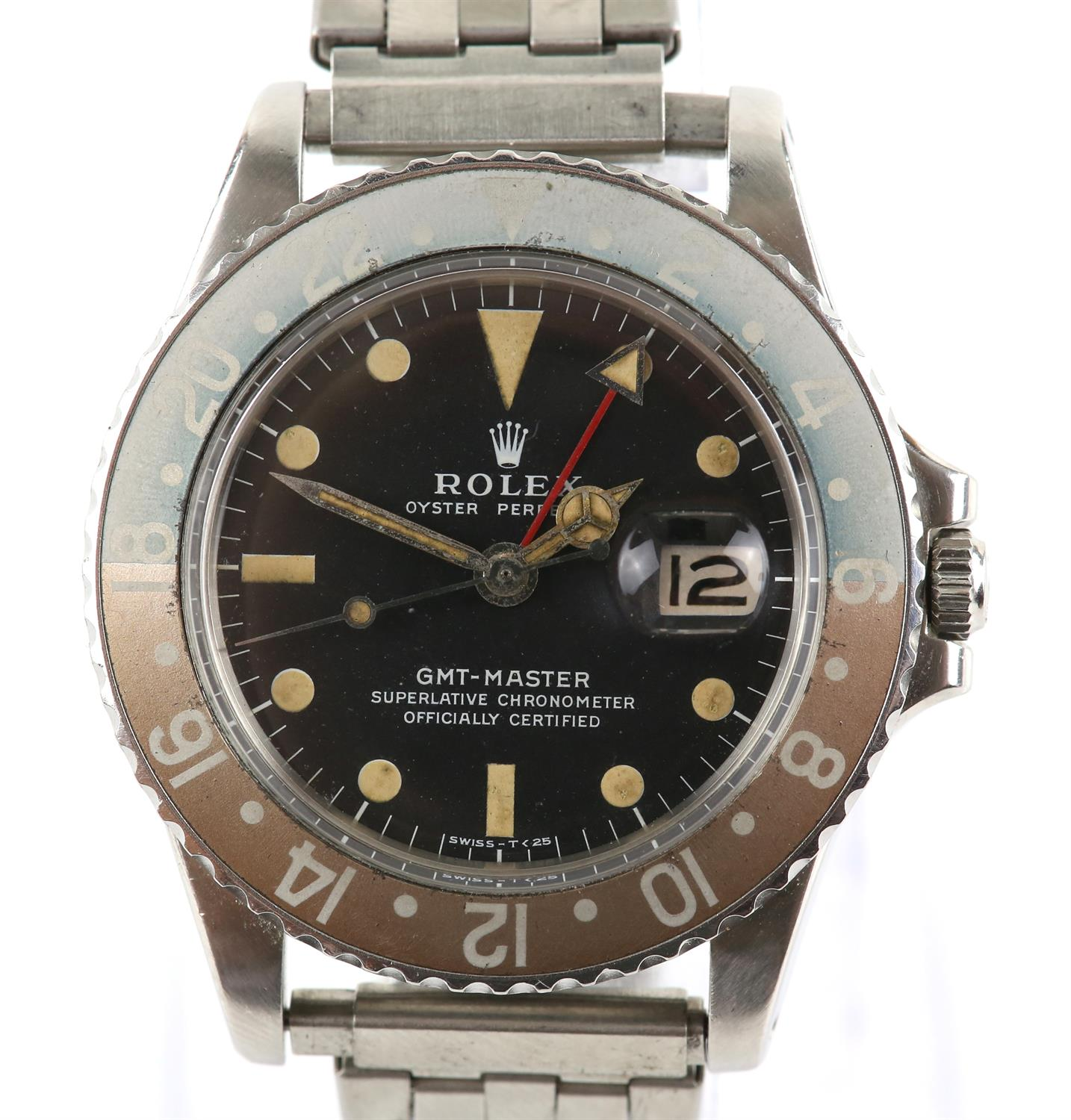 Rolex A gentleman's reference 1675 stainless steel GMT 'ghost dial' wristwatch, the signed dial