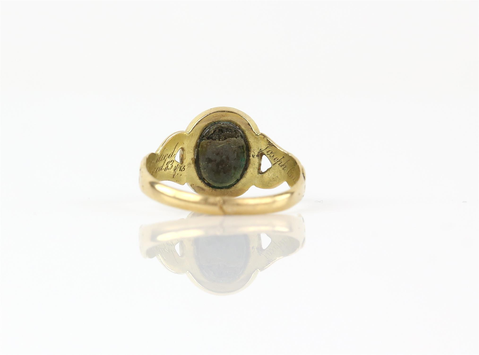 Antique gold and enamel mourning ring, inside band engraved 'Joseph Callaway died Feb 4.1873. - Image 3 of 3