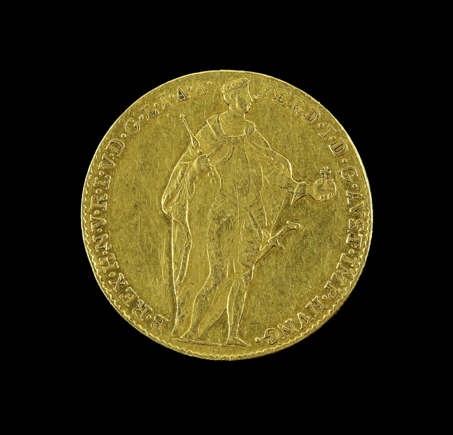 Hungary, Ferdinand V, gold Ducat 1848, Emperor standing, rev. Madonna and child - Image 2 of 2