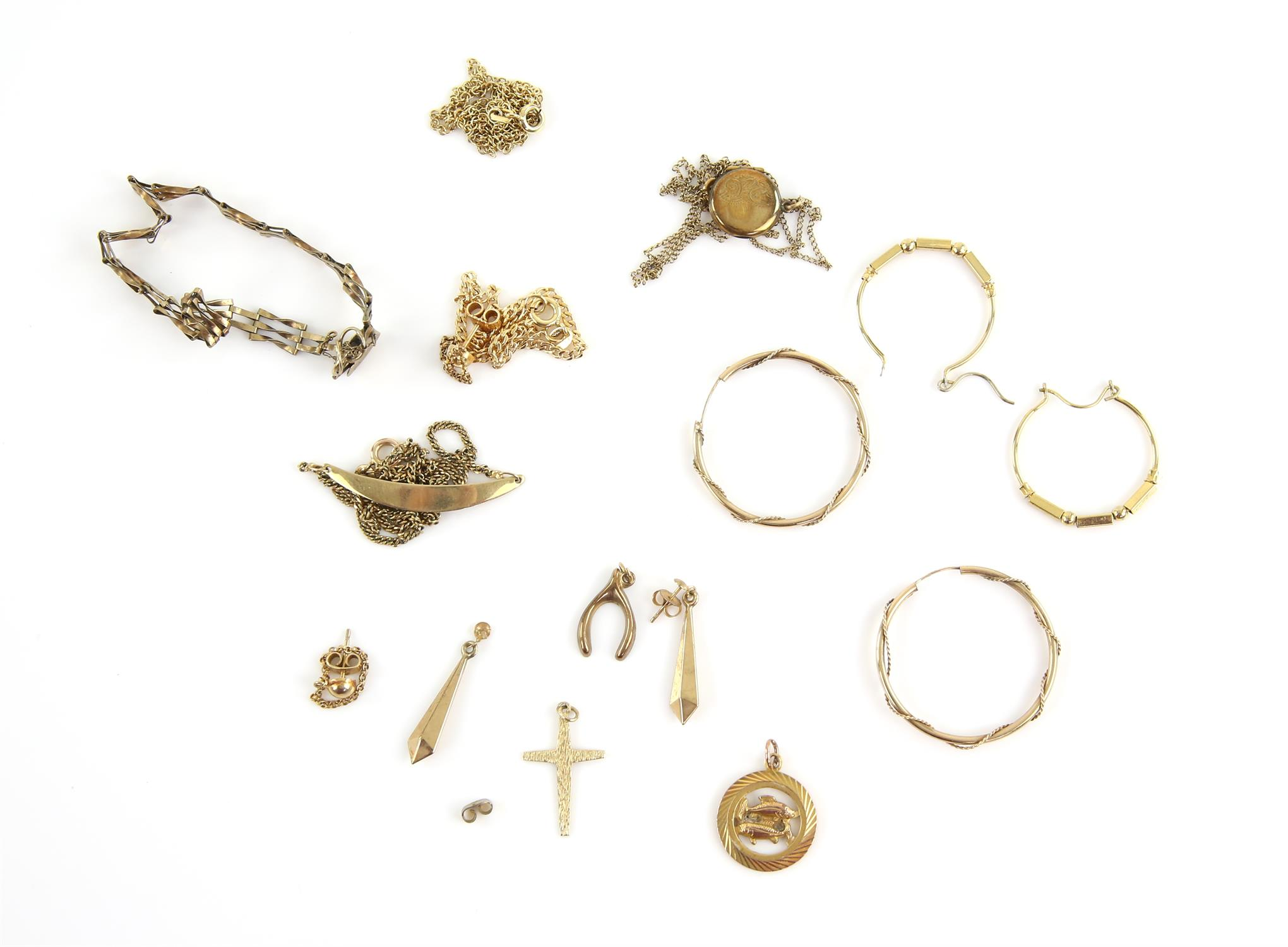 Selection of gold jewellery, including a gate bracelet, three pendants. two pairs of drop earrings,