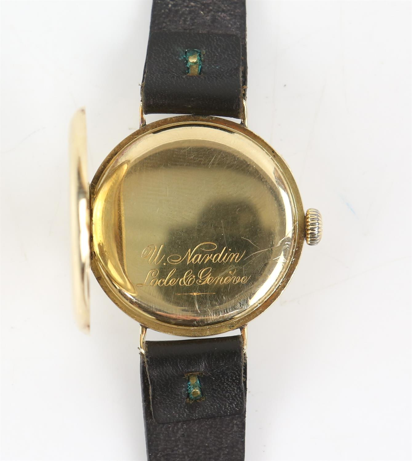 Ulysee Nardin, a Gentleman's gold wristwatch in circular case, the signed white enamel dial with - Image 6 of 10