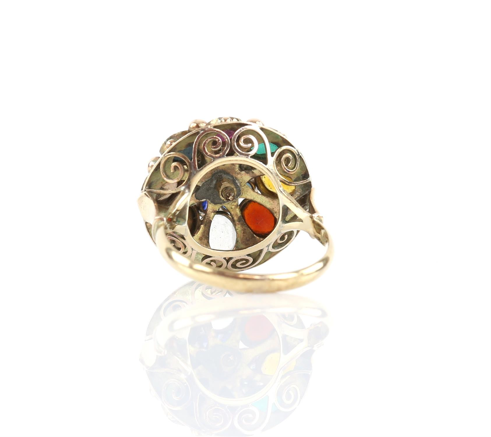 Gemstone set princess ring, set with round and oval cut sapphires, rubies, emeralds, tigers eye, - Image 3 of 3